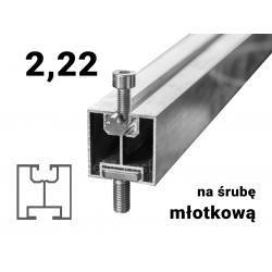 Profil aluminiowy 40 młotkowy 2,22 [m] grubość ścianki 1,5 [mm]