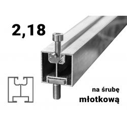 Profil aluminiowy 40 młotkowy 2,18 [m] grubość ścianki 1,5 [mm]